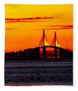 Sunset Over The Skyway Bridge Crop Fleece Blanket