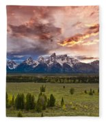 Sunset Over The Tetons  Fleece Blanket