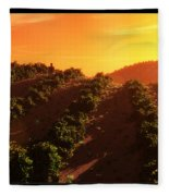 Sunset Over The Valley Fleece Blanket