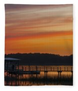 Sunset Over The Wando River Fleece Blanket