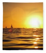 Sunset Over The Water In Waikiki Fleece Blanket
