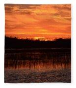 Sunset Over Tiny Marsh Fleece Blanket