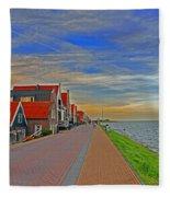 Sunset Over Volendam Fleece Blanket