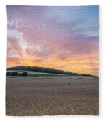 Sunset Over Wheat Fleece Blanket