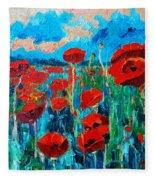 Sunset Poppies Fleece Blanket
