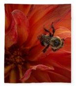 Sunset Red Dahlia Fleece Blanket
