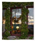 Sunset Reflection On Empress Window Fleece Blanket