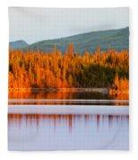Sunset Reflections On Boreal Forest Lake In Yukon Fleece Blanket