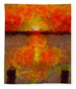 Sunset Reflections On The Dock Fleece Blanket