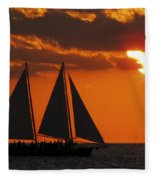 Key West Sunset Sail 3 Fleece Blanket