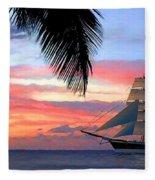 Sunset Sailboat Filtered Fleece Blanket