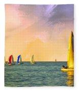 Sunset Sailing Fleece Blanket