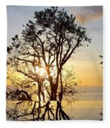 Sunset Silhouette And Reflections Fleece Blanket