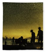Sunset Silhouette Of People At The Beach Fleece Blanket