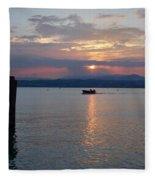 Sunset. Sirmione. Lago Di Garda Fleece Blanket
