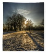 Sunset Snow Trees Fleece Blanket