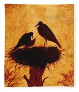 Sunset Stork Family Silhouettes Fleece Blanket