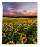 Sunset Sunflowers Fleece Blanket