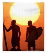Sunset Surfers Fleece Blanket