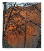 Sunset Through The Forest Fleece Blanket