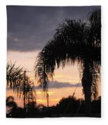 Sunset Through The Palms Fleece Blanket