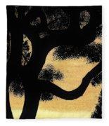 Sunset Through The Oak Trees Fleece Blanket