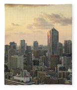 Sunset Tokyo Tower Panorama Fleece Blanket