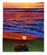 Sunset Turtle By Diana Sainz Fleece Blanket
