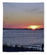 Sunset Walk Along The Beach Fleece Blanket