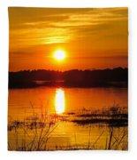 Sunset Walk In The Water Fleece Blanket
