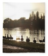 Sunset With Geese On The Thames Fleece Blanket