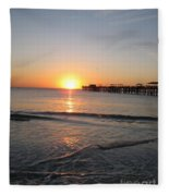 Fishingpier Sunset Fleece Blanket
