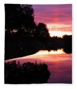 Sunset With Reflection Fleece Blanket