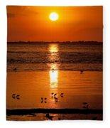 Sunset With The Birds Photo Fleece Blanket