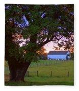 Sunset With Tree Fleece Blanket