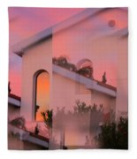 Sunsets On Houses Fleece Blanket