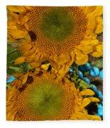 Sunshine And Turquoise  Fleece Blanket