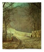 Sunshine Through Winter Trees Fleece Blanket