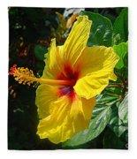 Sunshine Yellow Hibiscus With Red Throat Fleece Blanket