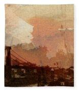 Sunsrise Over Brooklyn Bridge Fleece Blanket
