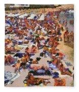 Super Paradise Beach In Mykonos Island Fleece Blanket