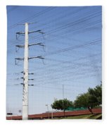 Super Power Pole And Wires Fleece Blanket