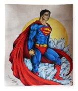Superman Lives On Fleece Blanket