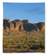 Superstition Mountain In The Evening Sun Fleece Blanket