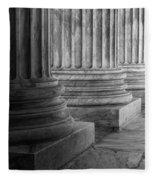 Supreme Court Columns Black And White Fleece Blanket