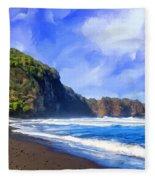 Surf At Pololu Valley Big Island Fleece Blanket