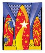 Surf Boards Retro Art Deco Fleece Blanket