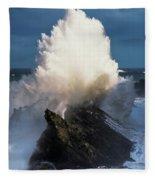 Surf Erupts On The Rocks At Shore Acres Fleece Blanket