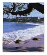 Surf On The Beach, Mauna Kea, Hawaii Fleece Blanket