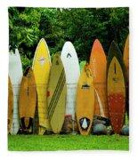 Surfboard Fence Maui Fleece Blanket
